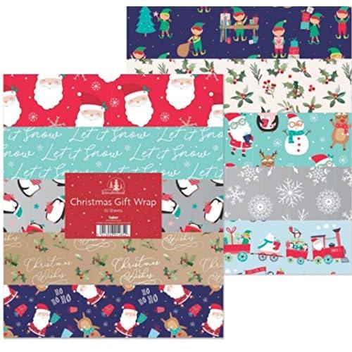 Lot de 10 grandes feuilles de Papier cadeau de Noël - 50 x 70 cm 10 designs - 1485 mm