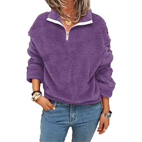 ZFQQ Autumn and Winter Women's Plus Velvet Sweater Double-Faced Fleece Jacket Purple