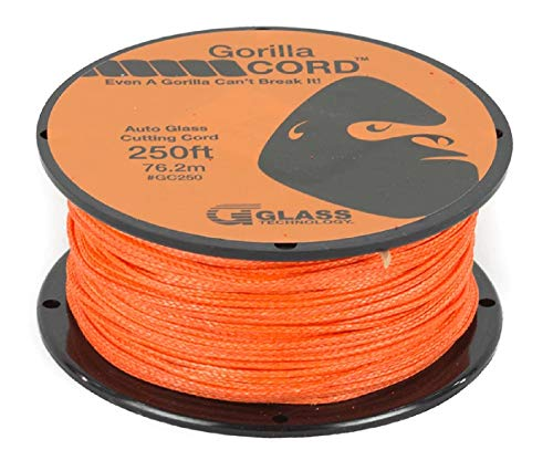 Glass Technology Gorilla Cord Auto Glass Cutting Line - Reusable Windshield Cut Out Cord 250 ft
