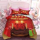 Hiiiman Juego de edredón de 3 piezas para celebración de fiesta con velas de tarta y regalos con impresión de feliz cumpleaños (3 unidades, tamaño queen), lavable a máquina