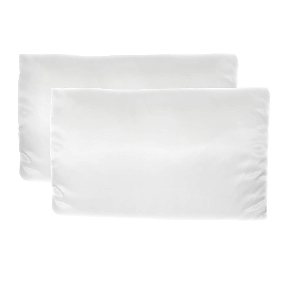 Revive Luxury Satin Pillowcase Set, 2 Standard Size Cooling Pillowcases, Machine Washable, Extends Blowouts and Curls, Anti-Aging - White