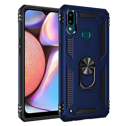 Compatibel Samsung Galaxy A10S hoes dunne zachte siliconen beschermhoes stootvast harde schaal kickstand case metalen vingerringstandaard telefoonhoes met magnetische carmount