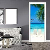 3Dドアステッカー壁画 3D海景ドア装飾ホームDiy壁紙壁画ステッカー