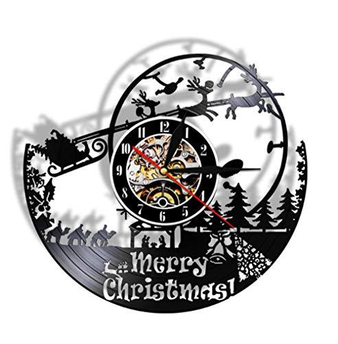 GYJCD Buon Natale Orologio da Parete in Vinile con Orologio San Nicola Regalo Babbo Natale Decorazione da Parete Elfo Orologio retrò