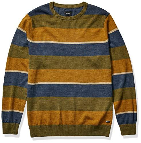 RVCA Men Kemper Striped Knit Sweater Green Small