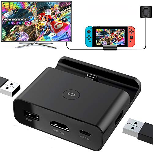 Tanouve Dock di Ricarica per Switch,Docking Station Portatile per Switch,HD TV Dock Adapter Per Nintendo Switch Charger Dock