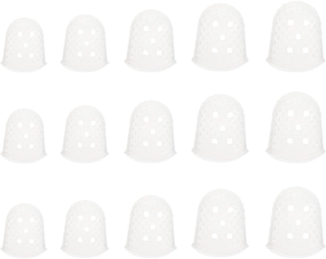 ultnice 15pieza guitarras Protección para los dedos para ukelele guitarra Bass 5Tamaños silicona