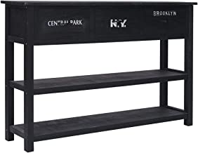 vidaXL Solid Paulownia and Poplar Wood Sideboard Side Cabinet End Console Table Bedroom Hallway Living Room Furniture Blac...