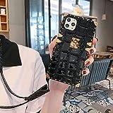 KAPADSON Schutzhülle für iPhone 7/iPhone 8, iPhone SE 2020, Krokodilleder-Design, TPU + PU-Leder, goldfarbene quadratische Ecken, flexible Schutzhülle mit Trageriemen, Schwarz