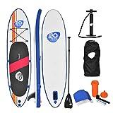 HLEZ Aufblasbare SUP Board Set, Stand Up Paddle Board 320X76X15CM Aufblasbar & leicht zu Transportieren - inkl. Tasche, Paddel, Finne, Luftpumpe, Repair Kit