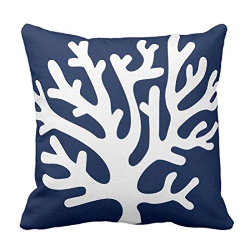 phjyjyeu Funda de almohada decorativa de coral marino náutico en azul marino y viviente, decoración del hogar, cuadrada, 40,6 x 40,6 cm, funda de almohada de 40,6 x 40,6 cm