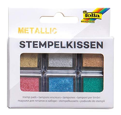Juego de 6 almohadillas de tinta metálicas, en diferentes colores, ideal para decorar tarjetas y otras manualidades.