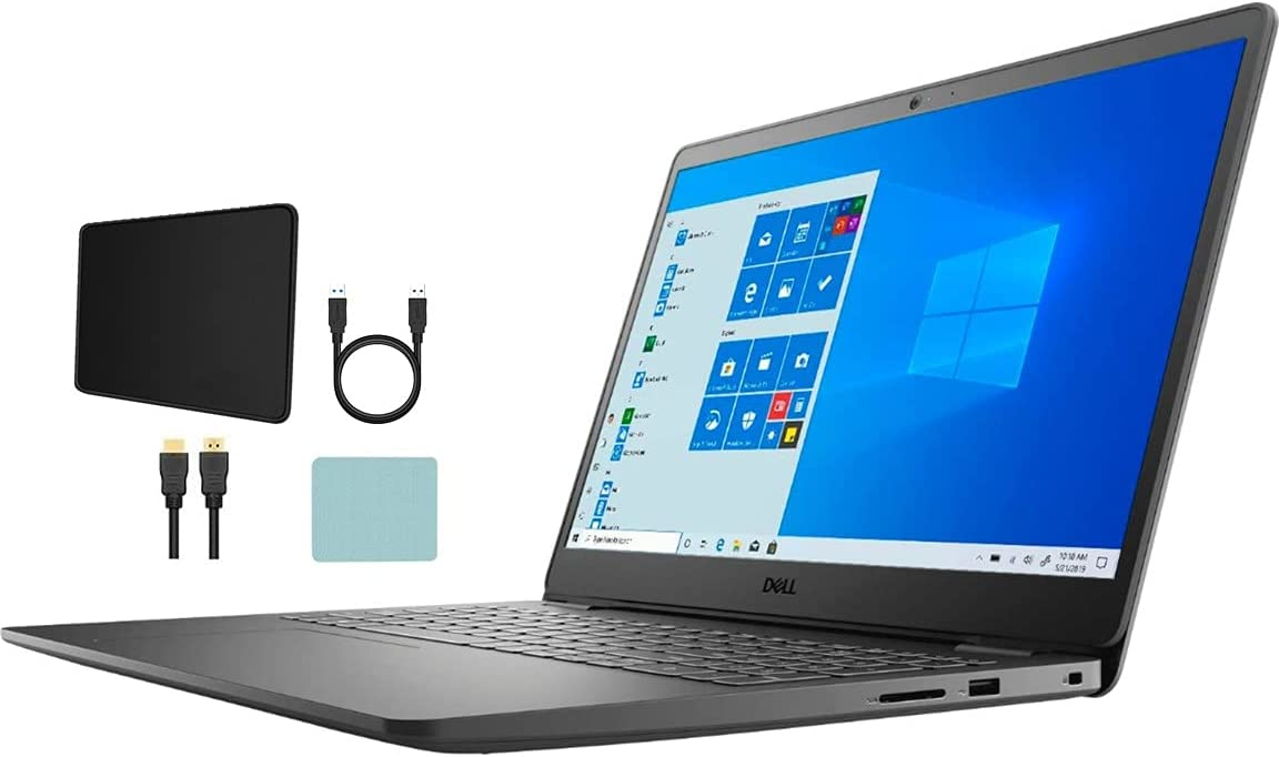 Dell Inspiron i3501 15.6-inch FHD 1080p IPS Laptop PC, Intel Quad Core i5-1135G7 2.4GHz, 12GB DDR4, 256GB SSD, HDMI, Webcam, Intel Iris Xe Graphics, Windows 10 S, Black w/ Mazepoly Accessories