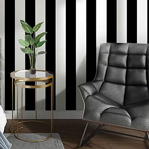 Guvana Stripe Black and White Peel and Stick Wallpaper Self Adhesive Wallpaper 118 x17 7 Removable product image