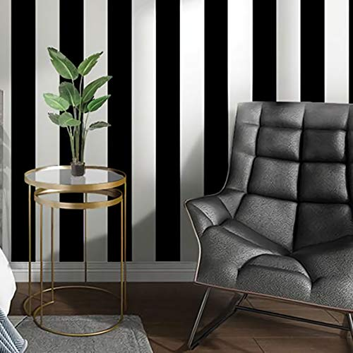 Guvana Stripe Black and White Peel and Stick Wallpaper Self-Adhesive Wallpaper 118'x17.7' Removable Contact Paper Waterproof Wallpaper Decorative Wall Covering Cabinets Shelves Drawer Liner Vinyl