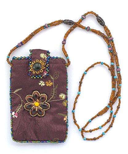 Les bijoux de porcelaine Tasche aus Seide für Handy Blume–Kugeln von Glas und Porzellan