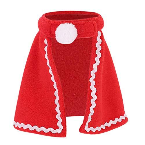 Bicaquu Haustier Roter Mantel, Haustier Hund Katze Roter Mantel Weiche Kostüm Weihnachten Kleidung für Kaninchen Meerschweinchen(1号)