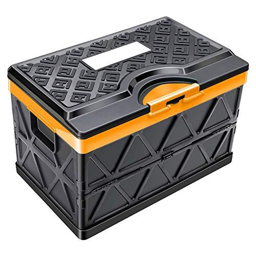 48L Inklapbare kofferbak Organizer container met deksel Duurzaam Kunststof Opvouwbaar Grocery Storage Box Perfect for SUV Truck Sedan Auto Family Vehicle Vans Camp Travel + waterdichte tas