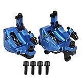 VGEBY Freno de Disco hidráulico, Bicicleta HB-100 Aleación de Aluminio Freno de Disco mecánico Conjunto de Conjunto de Freno de Disco de Bicicleta de montaña Trasera Delantera(Azul)