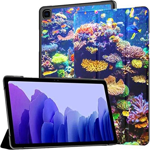 Funda para Samsung Galaxy Tab A7 Tablet de 10,4 Pulgadas 2020 (sm-t500 / t505 / t507), Coral Reef Tropical Fish Sunlight Singapore Funda con Soporte de múltiples ángulos con activación/suspensión a