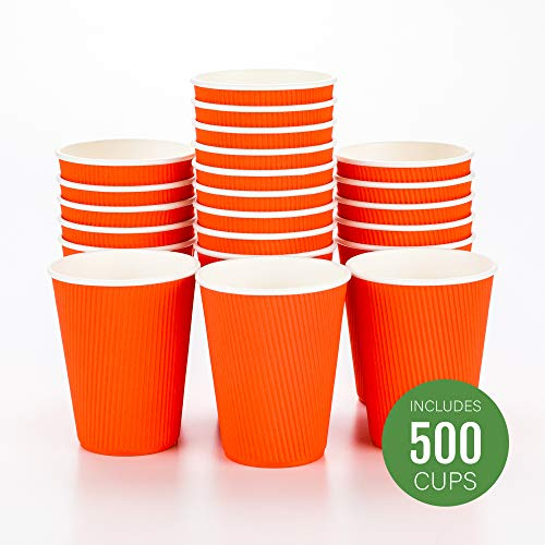 Disposable Paper Hot Cups - 500ct - Hot Beverage Cups, Paper Tea Cup - 12 oz - Tangerine Orange - Ripple Wall, No Need For Sleeves - Insulated - Wholesale - Takeout Coffee Cup - Restaurantware