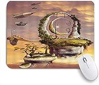 NINEHASA 可愛いマウスパッド ファンタジースカイフローティングストーンスカイシティツリーブリッジ宇宙船クリエイティブサンセット