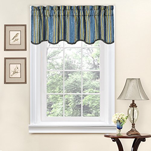 Traditions By Waverly Valances for Windows - Stripe Ensemble Rod Pocket Curtains for Kitchen and Living Room, 52' x 16', Porcelain