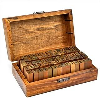 Alfabeto, números y símbolos de madera Gearmax® con sellos de goma - Retro 70 sellos de madera con caja de goma