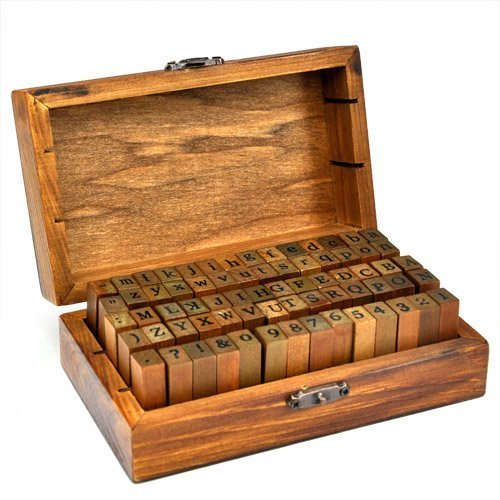 Gearmax® Holz Gummi Stempel Set, Kleine DIY Tools Stempelset in der unterschiedlichen Art Letters (70-TLG Alphabet + Anzahl Vintage Stamps)