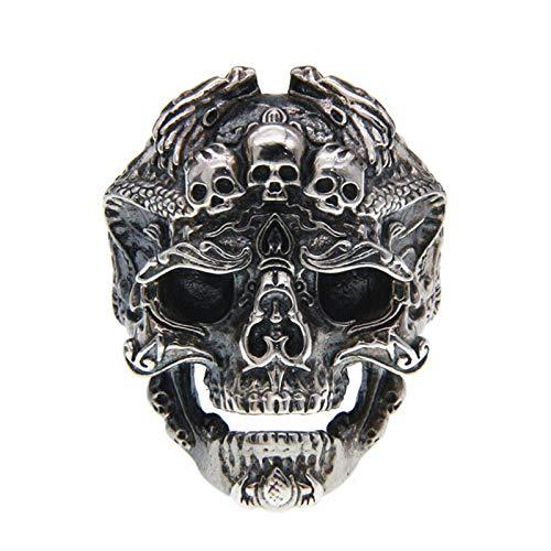 XIAOLIAN Ring S925 Sterling Silver Skull Head Carved Three-Dimensional Double Dragon Pattern Open Rock Punk Domineering Jewelry