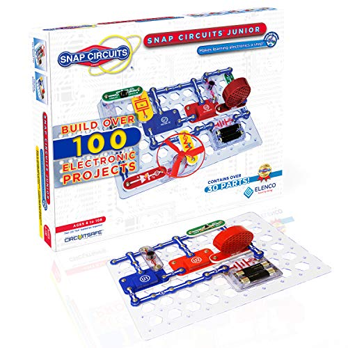 Snap Circuits Jr. SC-100 Electronics Exploration Kit | Over 100 STEM Projects | Full Color Project Manual | 30+ Snap Circuits Parts | STEM Educational Toy for Kids 8+