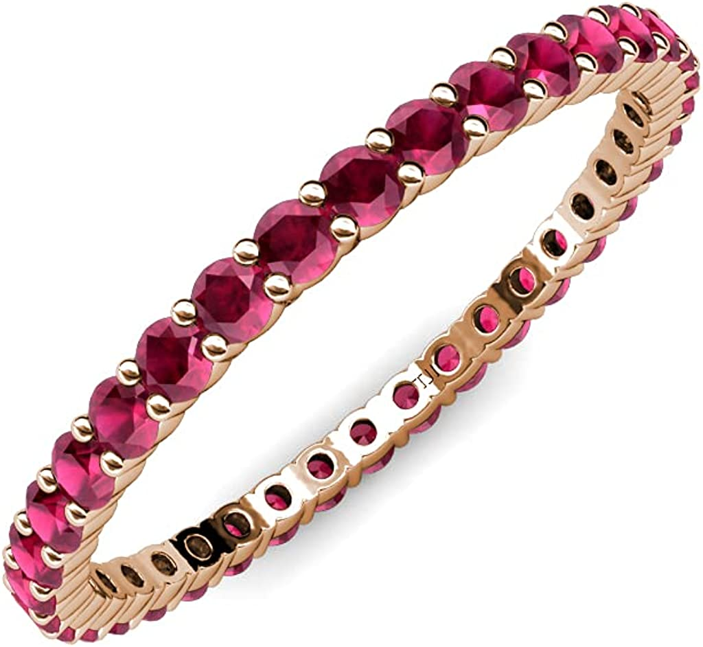 TriJewels Max 53% OFF Ruby 7 8 Trust ctw Common Prong Stackab Eternity Ring Womens
