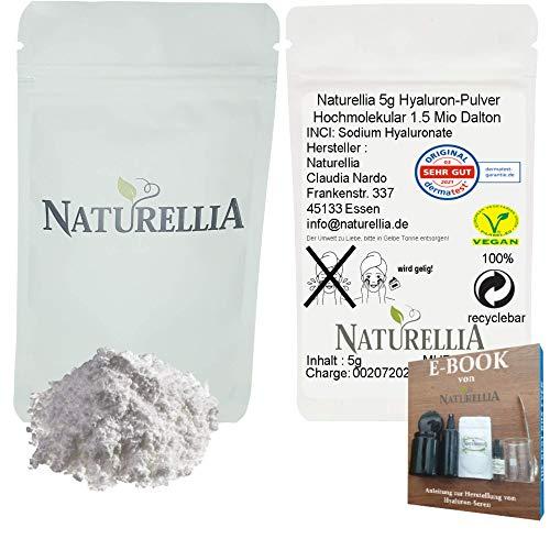 Naturellia Acido ialuronato Polvere 5 Grammi 1.5 Mio Dalton Altamente Concentrato Alta Molecolare Peso Per Effetto Superficiale per Solo Mescolarsi Una Crema Anti-Etá a Casa