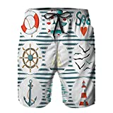 Aerokarbon Hombres Playa Bañador Shorts,Conjunto de mar con Peces, gaviotas Salvavidas y Faro, Tema marítimo de inspiración Marina,Traje de baño con Forro de Malla de Secado rápido 3XL