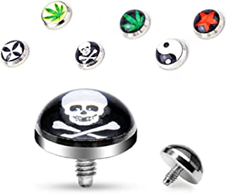 Body Accentz 5mm Dome Logo Dermal Anchor Top Logo 316L Surgical Steel Assorted Package Set of 6