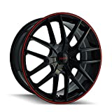 Touren TR60 3260 Wheel with Black Finish with Red Ring (16x7'/5x110mm)