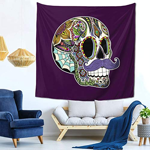 IDNUYIA 59x59inch Mustache Sugar Skull Tapestry Wall Hanging Wall Art with Hemmed Edges, Wall Blanket Home Decor for Bedroom College Dorm