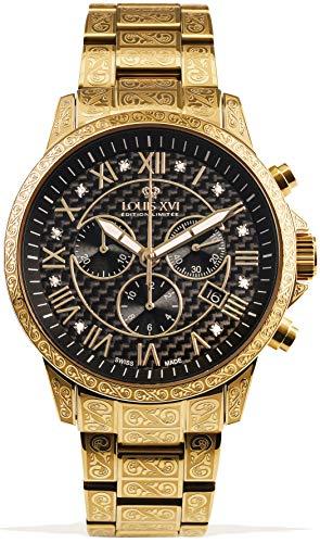LOUIS XVI Palais Royale 1018 - Reloj de pulsera para hombre con correa de acero dorado y negro al carbono, diamantes auténticos, números romanos, cronógrafo, analógico, cuarzo, acero inoxidable