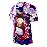Anime re Vida en un Mundo Diferente Desde Cero Cosplay t Shirt ram Remilia Dibujos Animados impresión de Verano Camiseta Casual Top tee Traje-1_XXXXL