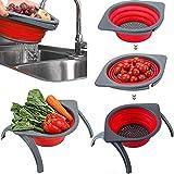 Colador plegable OLIYA, escurridor de frutas y verduras, red plegable para ahorrar espacio con soporte duradero, fregadero para cocina al aire libre y camping (rojo)