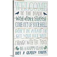 Welcome to The Beach Canvas Wall Art Print, Coastal Artwork