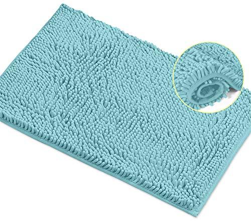 LuxUrux Bath Mat-Extra-Soft Plush Bath Shower Bathroom Rug,1'' Chenille Microfiber Material, Super Absorbent Shaggy Bath Rug. Machine Wash & Dry (15 x 23, Spa Blue)