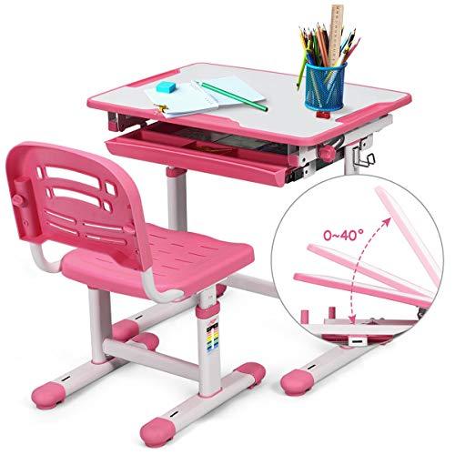 DREAMADE Kinderschreibtisch Kindertisch Schreibtisch mit Stuhl, Schülerschreibtisch Computertisch Neigungsverstellbar Höhenverstellbar, Kinder Schreibtisch mit Schubladen (Pink)