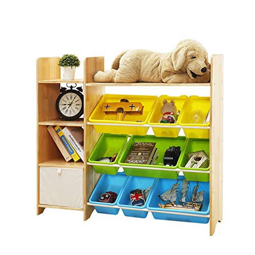 MALLBOO 4-Tier Kids' Toy Storage Organizer Shelf - Solid Wood,Children's Storage Cabinet with 9 Plastic Bins and 1 Cloth Storage Box