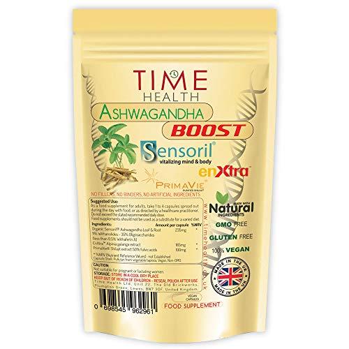 Ashwagandha Extrakt Kapseln - Sensoril®-Boost mit PrimaVie® und EnXtra® für mehr Energie - Ohne Zusätze - 100% Natürlich - Vegan (60 Kapseln)