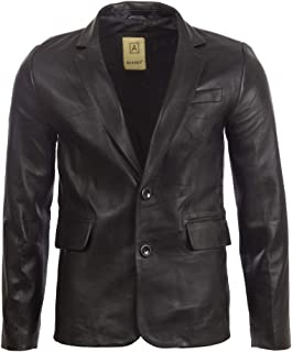 Aviatrix Men's Real Leather 2 Button Fitted Blazer Sports Jacket (EAQQ)