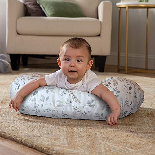 Boppy Original Nursing Pillow & Positioner, Gray Taupe Leaves, Cotton Blend Fabric with Allover Fashion