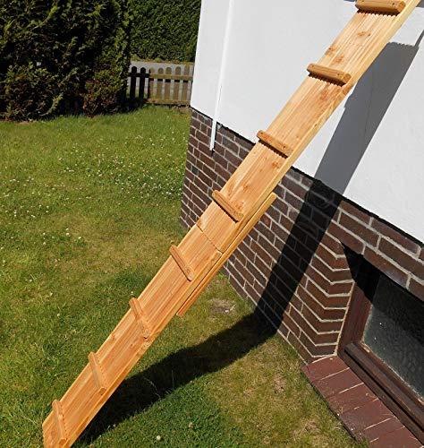 Jennys Tiershop 3 Meter! Katzenleiter/Katzentreppe mit 2 Verbindungsstücken für Balkon, Mit Klemmhalterung. extra 21 cm Breit! Douglasie (e)