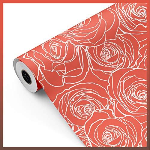 Bobina papel de regalo, rollo grande 62cm x 100m • ROSAS Rosa • Ideal para: Tiendas Negocios Comercios Envolver regalos Cumpleaños Baby Shower Bodas Decoración [FP Fiesta Paper]