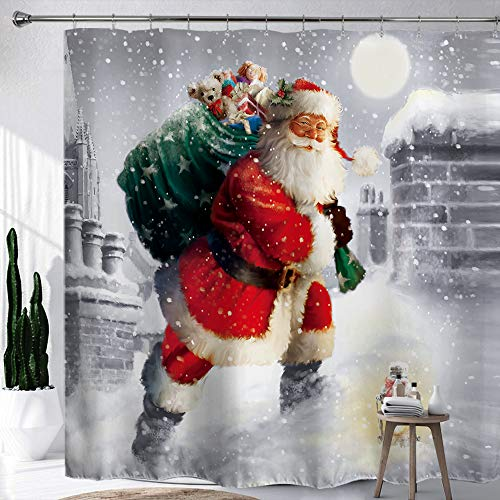 """HIYOO Christmas Santa Claus Shower Curtain with Hooks, Xmas New Year Home Decorations Winter Bathroom Decor Waterproof Polyester Fabric Shower Curtain - Happy Santa Gift-Giving 60"""" W x 72"""" L"""